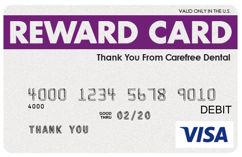 this prepaid visa reward card is yours when you activate your carefree dental card spend it online or across the countrywherever visa credit cards are